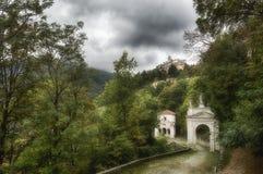 Sacred Mount of Varese in rainy season Royalty Free Stock Photos