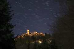 Sacred Mount of Varese, star trails Royalty Free Stock Images