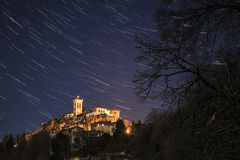Sacred Mount of Varese, star trails Stock Photo