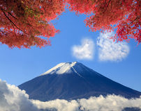 The sacred mountain of Fuji in the background of blue sky at Jap Royalty Free Stock Images