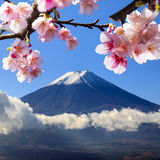 The sacred mountain of Fuji in the background of blue sky Stock Photography
