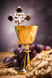Sacred Objects. Bible, bread and wine Royalty Free Stock Images