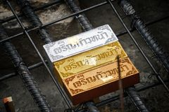Sacred objects bury under ground for luck in the Thai Brahmin ceremony. Sacred objects bury under ground for luck in Thai Brahmin ceremony royalty free stock image