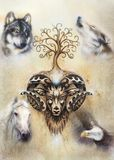 Sacred ornamental aries spirit with tree of life symbol and animals. Sacred ornamental aries spirit with tree of life symbol and animals royalty free stock images