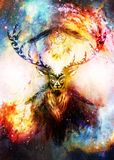 Sacred ornamental deer spirit with dream catcher symbol and feathers in cosmic space. stock illustration