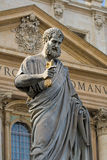 Sacred Peter's statue in Vatican. Rome, Italy. Detail stock photography
