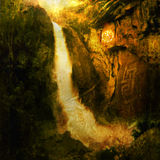 Sacred Place. Please contact Antaratma directly to license image for Print retail. Photo based illustration of a large waterfall near a native american