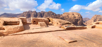Sacred place in the desert. Ancient sacred place in the desert at Petra in Jordan Royalty Free Stock Photo