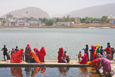 A sacred place for Indians- city and the lake of Pushkar, India Royalty Free Stock Photography