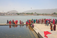 A sacred place for indusov- city and the lake of Pushkar, India Royalty Free Stock Photo