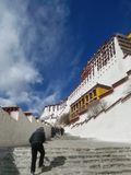 The hundreds of steps of Potala Palace show its majesty and grandeur. royalty free stock image