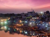 Sacred Puskhar lake and ghats of town Pushkar in night Royalty Free Stock Photos