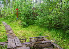 On the sacred source of Mary Magdalene in Kadyysky district of t. On the sacred source of Mary Magdalene on a summer day in Kadyysky district of the Kostroma royalty free stock photo