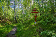 On the sacred source of Mary Magdalene in Kadyysky district of t. On the sacred source of Mary Magdalene on a summer day in Kadyysky district of the Kostroma stock photo