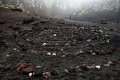 Sacred spiral of igneous rock in Etna volcano crater. Symbolizing centering, widening consciousness and growing capacity to benefit from lifes lessons Stock Image