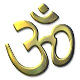 Sacred syllable Aum. An illustration of the golden sacred syllable Aum Stock Images