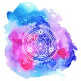 Sacred symbol on bright  watercolored  background . Vector eleme Stock Photo