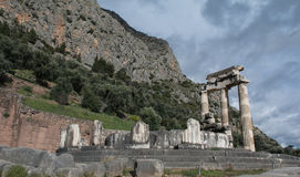 Sacred Temple of Athena in Delphi Royalty Free Stock Photography
