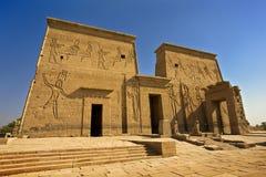 The Sacred Temple Island of Philae. Egypt. Agilkia Island (or Agilika Island) in Lake Nasser. Philae Temple of Isis - the First Pylon Stock Images
