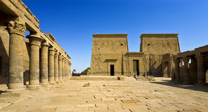 The Sacred Temple Island of Philae. Egypt. Agilkia Island (or Agilika Island) in Lake Nasser. Philae Temple of Isis - the Western Colonnade and the First Pylons Stock Photo