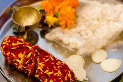 Sacred thread and items for hindu ritual Royalty Free Stock Photos