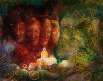 Sacred tree of four faces, fantasy colorful painting Royalty Free Stock Image
