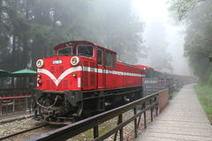 Sacred Tree Station at Alishan, Taiwan - April 12, 2015. Public Train leaves from Sacred Tree Station in Alishan National Scenic Area, Taiwan on April 12, 2015 Royalty Free Stock Image