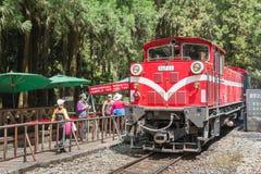 Sacred Tree Station, Taiwan - April 18, 2015 : Public Train leav Royalty Free Stock Photo