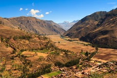 Sacred Valley. Farmland sprawled across the sacred valley in Peru near filled with inca history Royalty Free Stock Photography