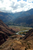 The Sacred Valley. View of Sacred Valley in Peru through mountains Stock Photos