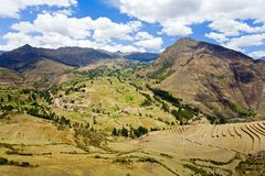 Sacred Valley. View of Sacred Valley from Pisac ruins near Cusco, Peru Royalty Free Stock Image