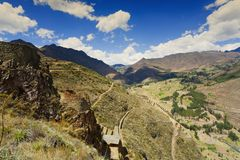 Sacred Valley. Overlook of Sacred Valley and Pisac ruins near Cusco, Peru Stock Photography