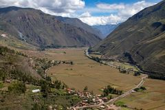 The Sacred Valley of the Inca in Peru. A view of the Sacred Valley of the Inca in the Andes Mountains of Peru royalty free stock photography