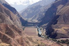 Sacred Valley of the Incas. In Peru, Cusco, Peruvian mountains. The scenic and historical Sacred Valley is a major tourist destination. In 2013, 1.2 million stock photo