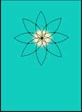 Sacred Yoga Icon on Teal. With room for your own type at the bottom Stock Photography