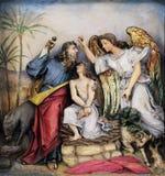 Sacrifícios Isaac de Abraham imagens de stock