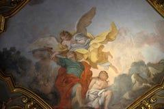 Sacrifícios Isaac de Abraham, fresco na igreja Santa Maria Maggiore em Florença imagem de stock