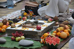 Sacrifice fire in Vedic wedding Royalty Free Stock Photos