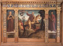 The Sacrifice of Isaac, Verona. The Sacrifice of Isaac with Two Donors known as the Miniscalchi Altarpiece in Castelvecchio Museum in Verona stock photos