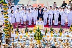 Sacrifice soul heroic people Bangrachan. SING BURI, THAILAND - FEBRUARY 4 : Chalothon Prakord Governor of Sing Buri  respecting soul heroic people of Bangrachan Stock Photography