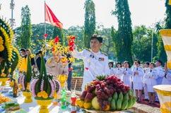 Sacrifice soul heroic people Bangrachan. SING BURI, THAILAND - FEBRUARY 4 : Chalothon Prakord Governor of Sing Buri  respecting soul heroic people of Bangrachan Royalty Free Stock Images