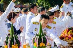 Sacrifice soul heroic people Bangrachan. SING BURI, THAILAND - FEBRUARY 4 : Unidentified bureaucrat of Sing Buri  respecting soul heroic people of Bangrachan ( Stock Photography