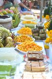Sacrifice on Thai. Fruits and sweet meal of Sacrifice on Thai Stock Images