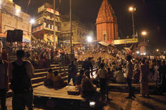 Sacrifice to the Ganges river at night Stock Photo