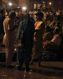 Sacrifice to the Ganges river at night Royalty Free Stock Photo