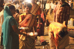 Sacrifice to the Ganges river at night Stock Image