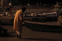 Sacrifice to the Ganges river at night. Evening worship in the Ganges Dasaswamedh Ghat, every day in the evening, walk on the bank of the Ganges can hear ringing stock photography