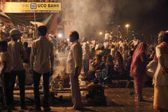 Sacrifice to the Ganges river at night Royalty Free Stock Image