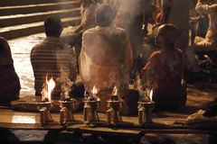 Sacrifice to the Ganges river at night Royalty Free Stock Images