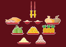 Sacrifice to gods of chinese new year,Vector illustrations Royalty Free Stock Image